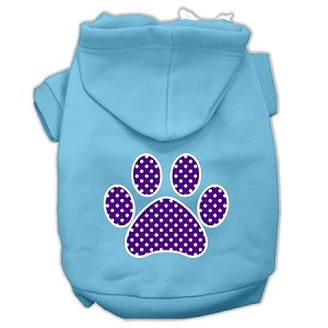 Purple Swiss Dot Paw Screen Print Pet Hoodies Baby Blue Size Med (12)